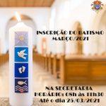 Inscrições para o batismo no mês de março
